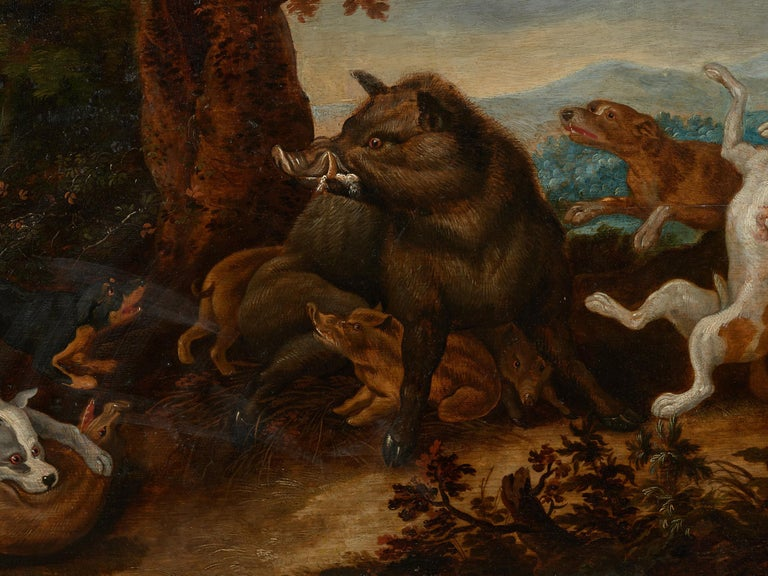 Hand-Painted 17th Century Flemish Shool Antwerp Wild Boar Hunt in the Style of Frans Snijders For Sale