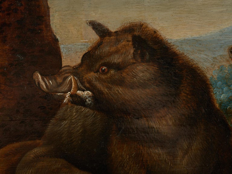 17th Century Flemish Shool Antwerp Wild Boar Hunt in the Style of Frans Snijders In Good Condition For Sale In Leuven , BE