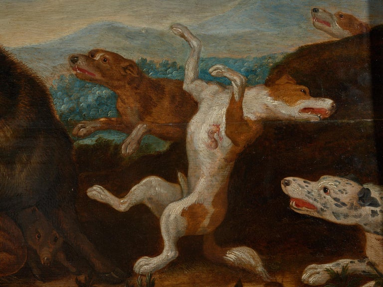 Paint 17th Century Flemish Shool Antwerp Wild Boar Hunt in the Style of Frans Snijders For Sale