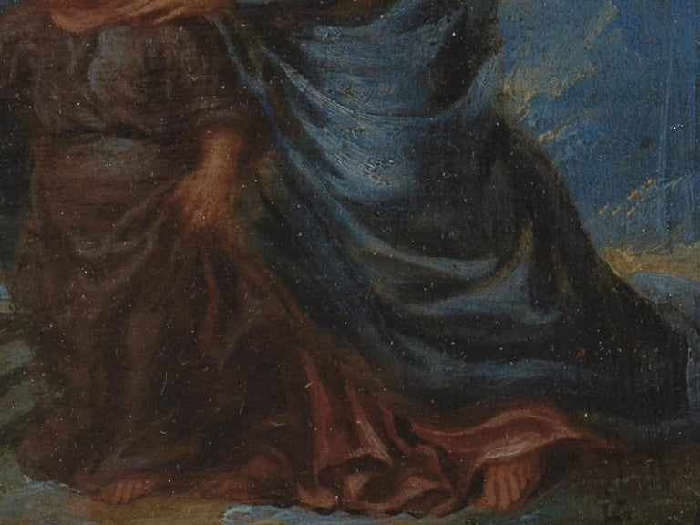 Belgian 17th Century Flemish Shool 'monogram IG or LG', Maria and Christ, Oil on Panel For Sale