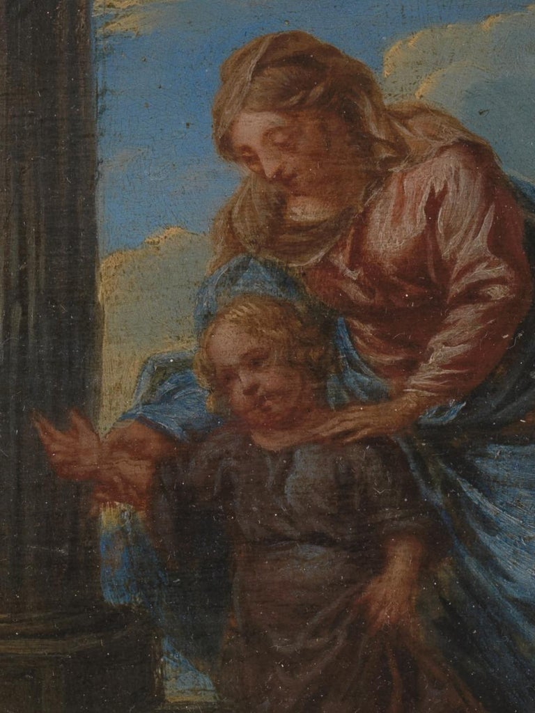 Hand-Carved 17th Century Flemish Shool 'monogram IG or LG', Maria and Christ, Oil on Panel For Sale