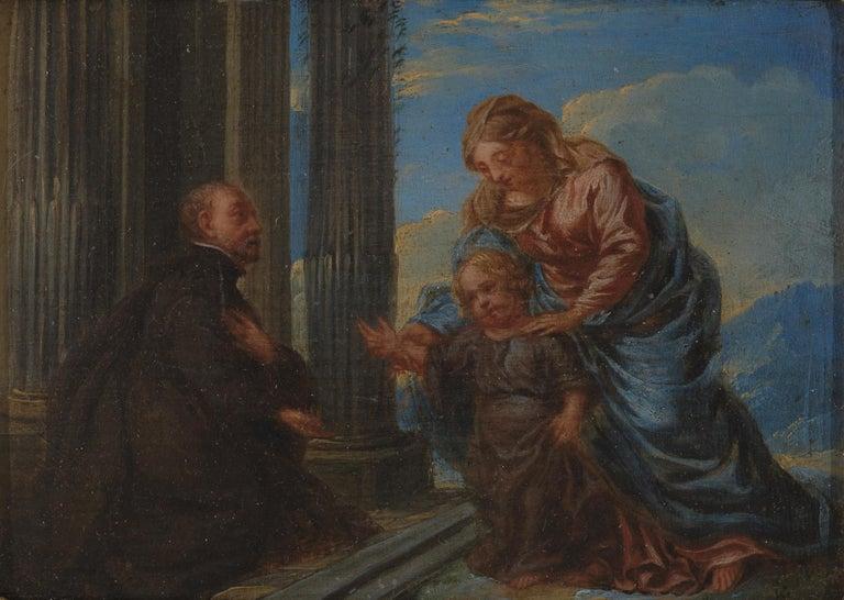 Wood 17th Century Flemish Shool 'monogram IG or LG', Maria and Christ, Oil on Panel For Sale
