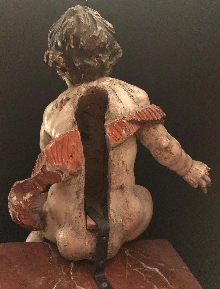 German Baroque Wood Carved Life Sized Putto, Original Polychrome #2 of 2 For Sale 1