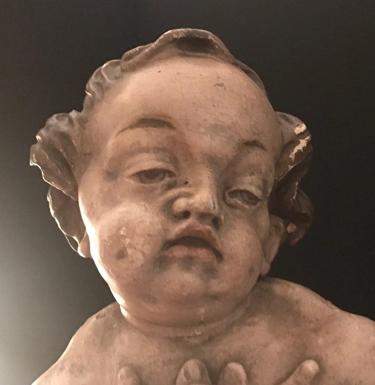 German Baroque Wood Carved Life Sized Putto, Original Polychrome #1 of 2 For Sale 6