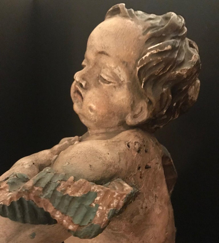 German Baroque Wood Carved Life Sized Putto, Original Polychrome #1 of 2 For Sale 7