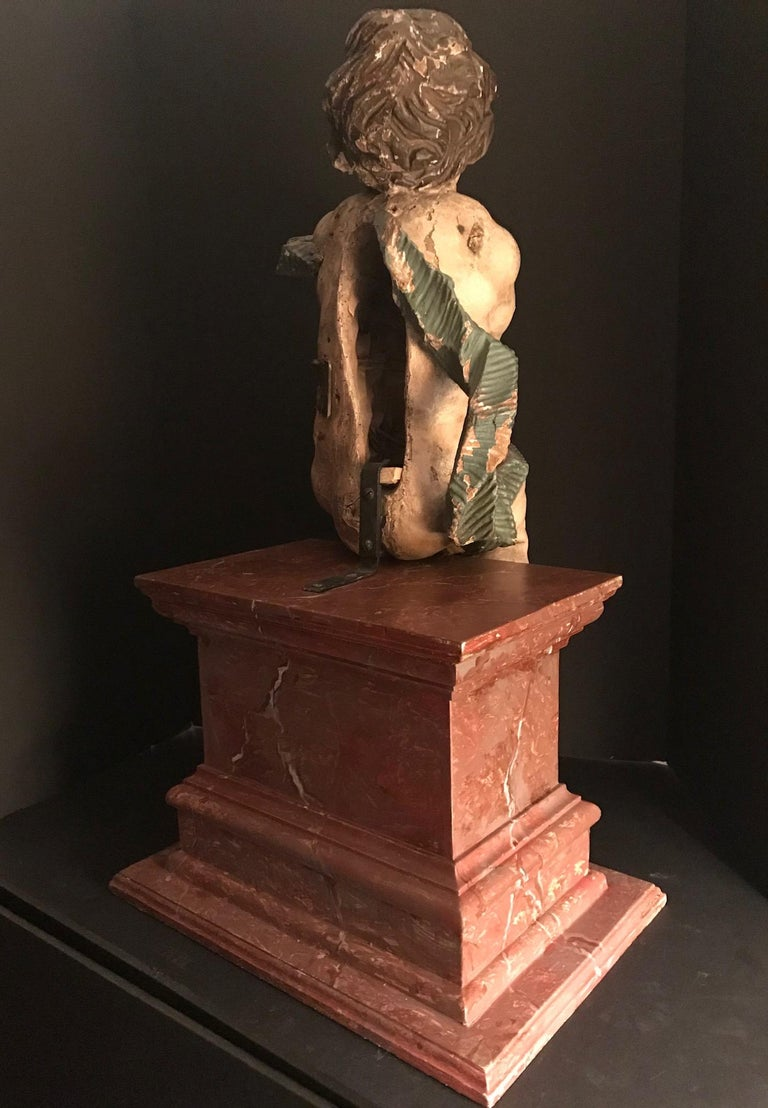 German Baroque Wood Carved Life Sized Putto, Original Polychrome #1 of 2 For Sale 1