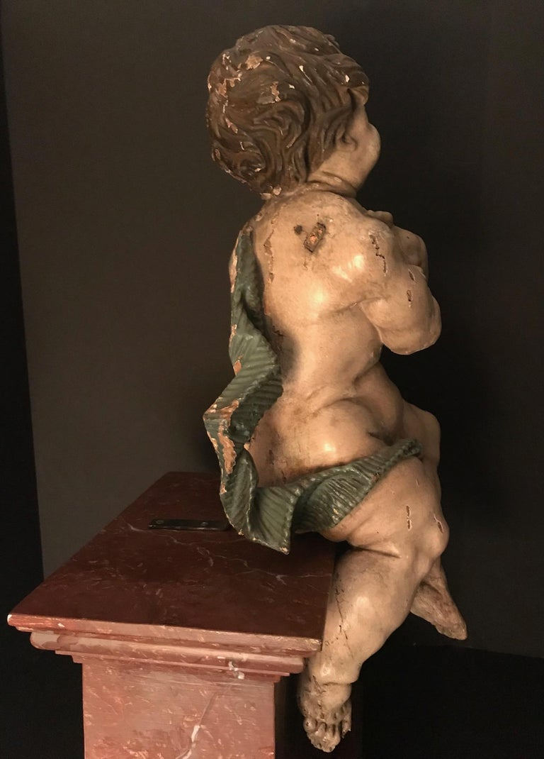 German Baroque Wood Carved Life Sized Putto, Original Polychrome #1 of 2 For Sale 4