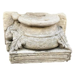 Hand Carved Stone Column Base Sculpture Doorstop Decorative Element LA