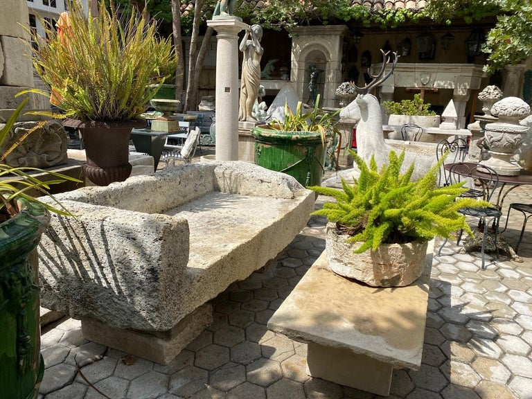 17th century hand carved garden stone bench. No pedestals or bases instead to mount it in place as the example. This rustic beauty is a rare piece indeed A beautiful garden bench simple lines that works in an interior as a seating or decorative
