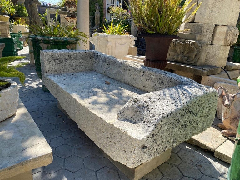 French Hand Carved Stone Garden Bench Seat Decorative Element Antiques, LA CA For Sale