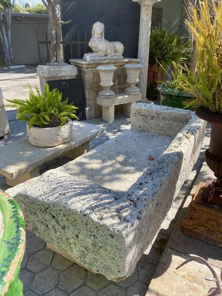 Hand-Carved Hand Carved Stone Garden Bench Seat Decorative Element Antiques, LA CA For Sale