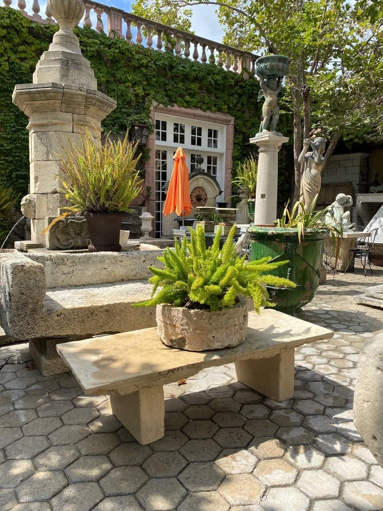 17th Century Hand Carved Stone Garden Bench Seat Decorative Element Antiques, LA CA For Sale
