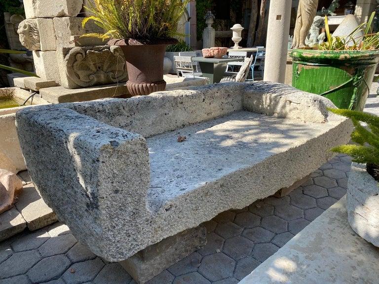 Hand Carved Stone Garden Bench Seat Decorative Element Antiques, LA CA For Sale 1