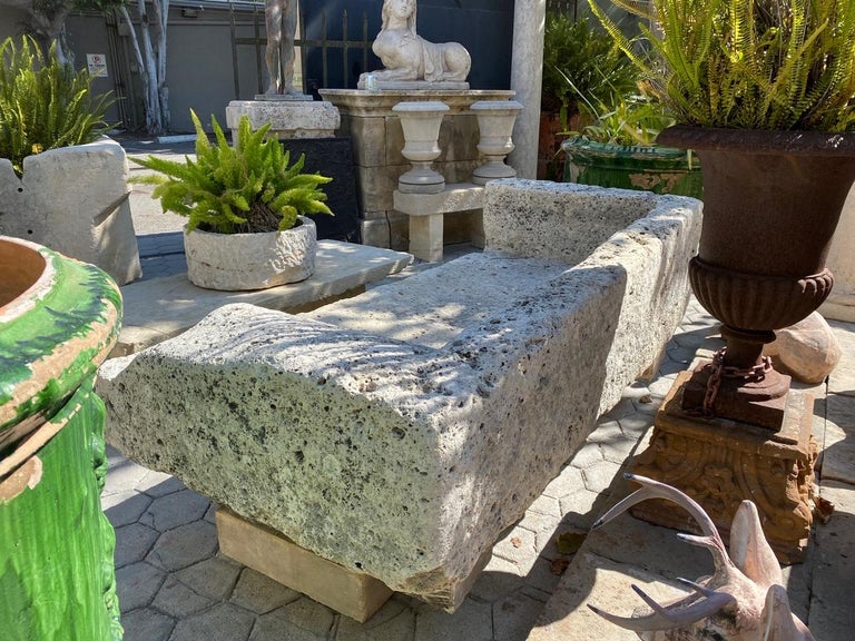 Hand Carved Stone Garden Bench Seat Decorative Element Antiques, LA CA For Sale 2