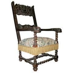 17th c Italian Walnut Armchair