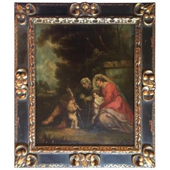 17th Century Old Master Painting on Panel, the Rest on the Flight into Egypt