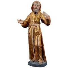 Wooden Statue of Saint-Francis with the Original Polychromy and Gilding