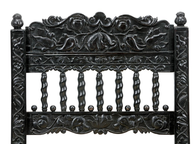 Hand-Carved 17th Cent. Dutch Colonial Ebony Chair Formerly Owned by the Duke of Westminster For Sale