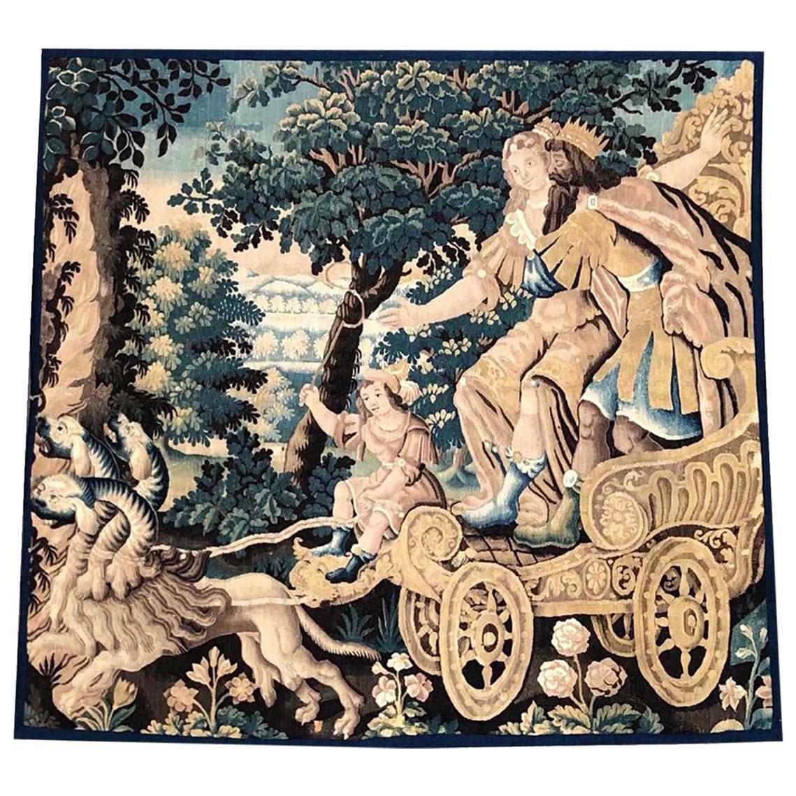 "17th Century Mythological Aubusson Tapestry ""The Rape of Proserpina"""