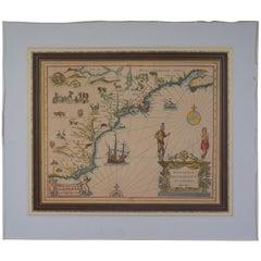 17th Century 1630 Nova Anglia Colored Map Engraving Belgium Virginia Jan Jansson