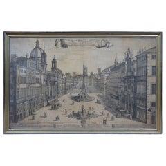 17th Century 1699 Prospetto Della Nobile E Vaga Piazza Navona Engraving Rome