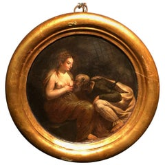 17th Century an Antique Painting of Roman Charity