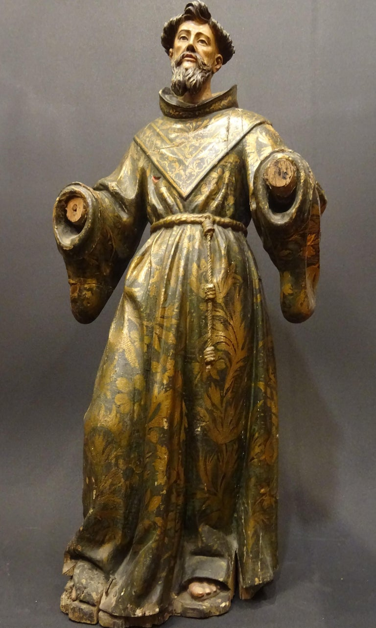 17th Century Andalusian Carved Gilded Polychromed Wood San Francisco Sculpture For Sale 3