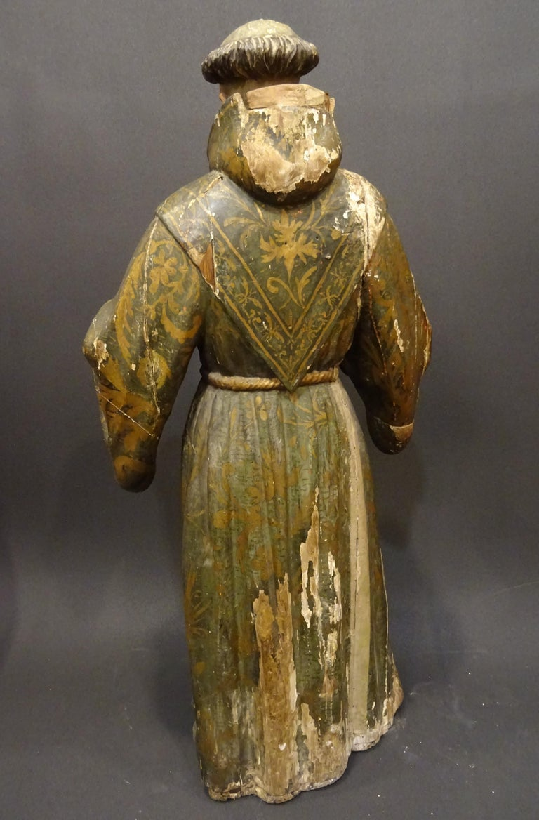 17th Century Andalusian Carved Gilded Polychromed Wood San Francisco Sculpture For Sale 6