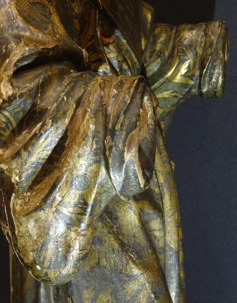 17th Century Andalusian Carved Gilded Polychromed Wood San Francisco Sculpture For Sale 10