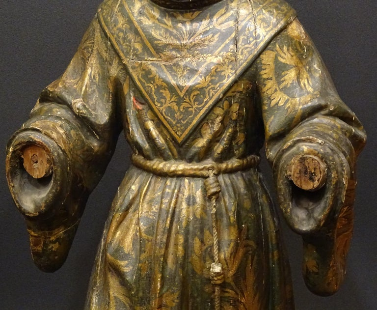 Baroque 17th Century Andalusian Carved Gilded Polychromed Wood San Francisco Sculpture For Sale