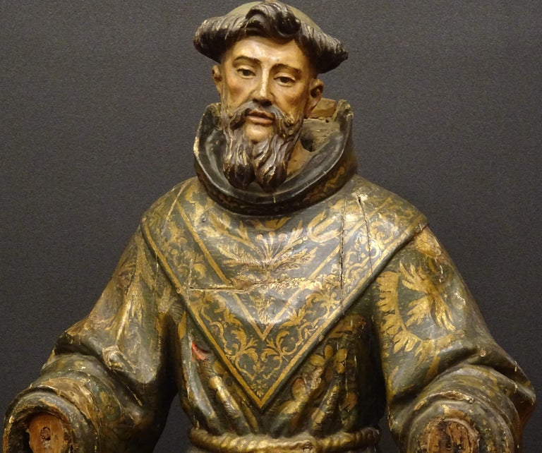 Spanish 17th Century Andalusian Carved Gilded Polychromed Wood San Francisco Sculpture For Sale