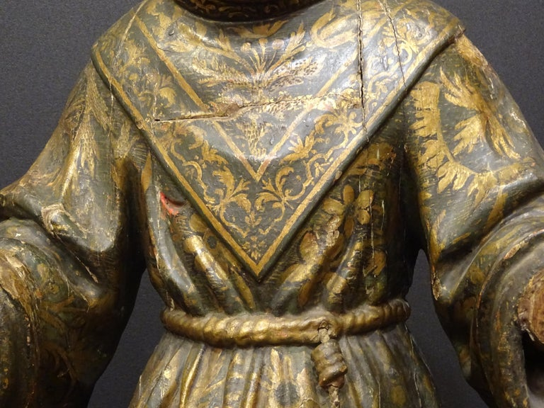 Late 17th Century 17th Century Andalusian Carved Gilded Polychromed Wood San Francisco Sculpture For Sale