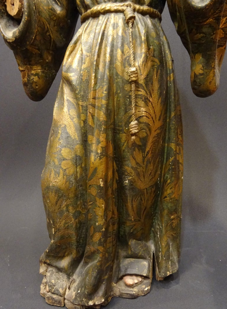 Gold 17th Century Andalusian Carved Gilded Polychromed Wood San Francisco Sculpture For Sale