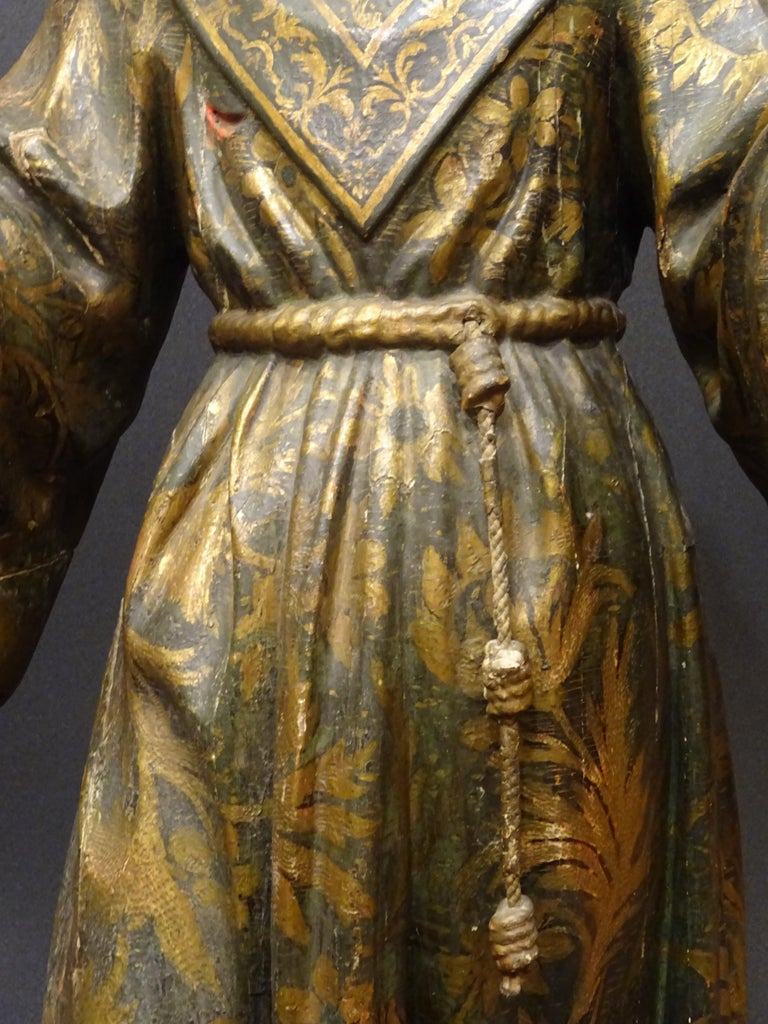 17th Century Andalusian Carved Gilded Polychromed Wood San Francisco Sculpture For Sale 1