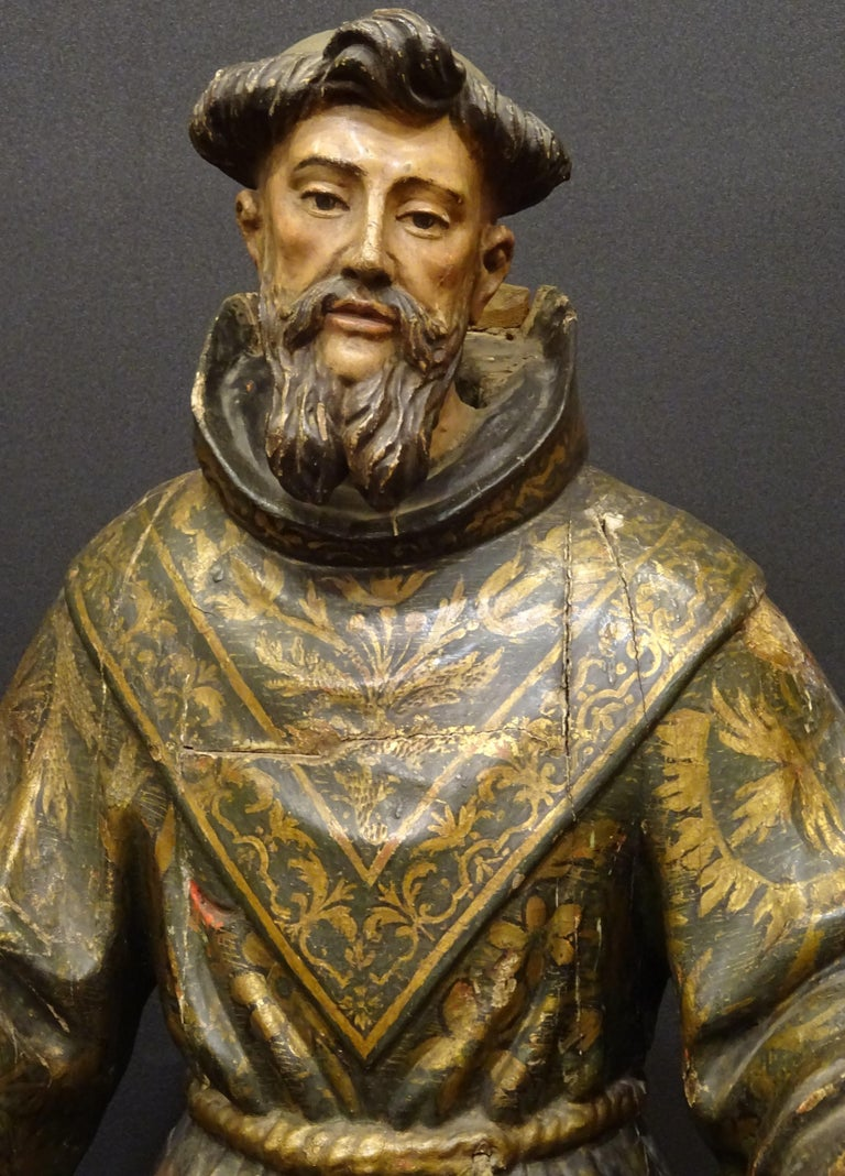 17th Century Andalusian Carved Gilded Polychromed Wood San Francisco Sculpture For Sale 2