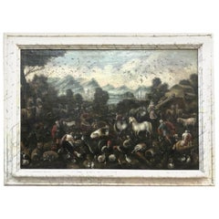 17th Century Italian School Baroque Large Landscape Animals Entering Noah's Ark