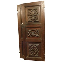 17th Century Antique 4 Doors for Interior, Baroque with 3 Carved Panels