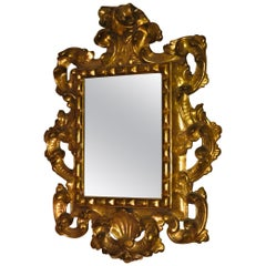 17th Century Antique Baroque Medici Florentine Gilt-Wood Frame  Mercury Glass
