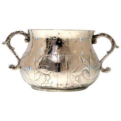 17th Century Antique Charles II Silver Porringer, London, 1668 Maker 'T*A'