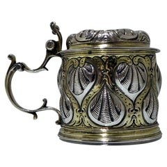 17th Century Antique German Silver Tankard Augsburg 1666-1669 Christoph Leipzig