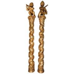 17th Century Antique Italian Baroque Solomonic Columns , Musical Puttis 10' Tall