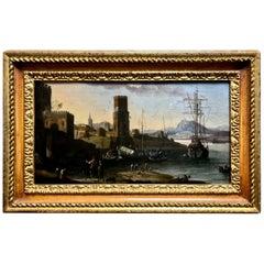 17th Century Antique Painting Dutch Italian Landscape Mediterranean, 1665