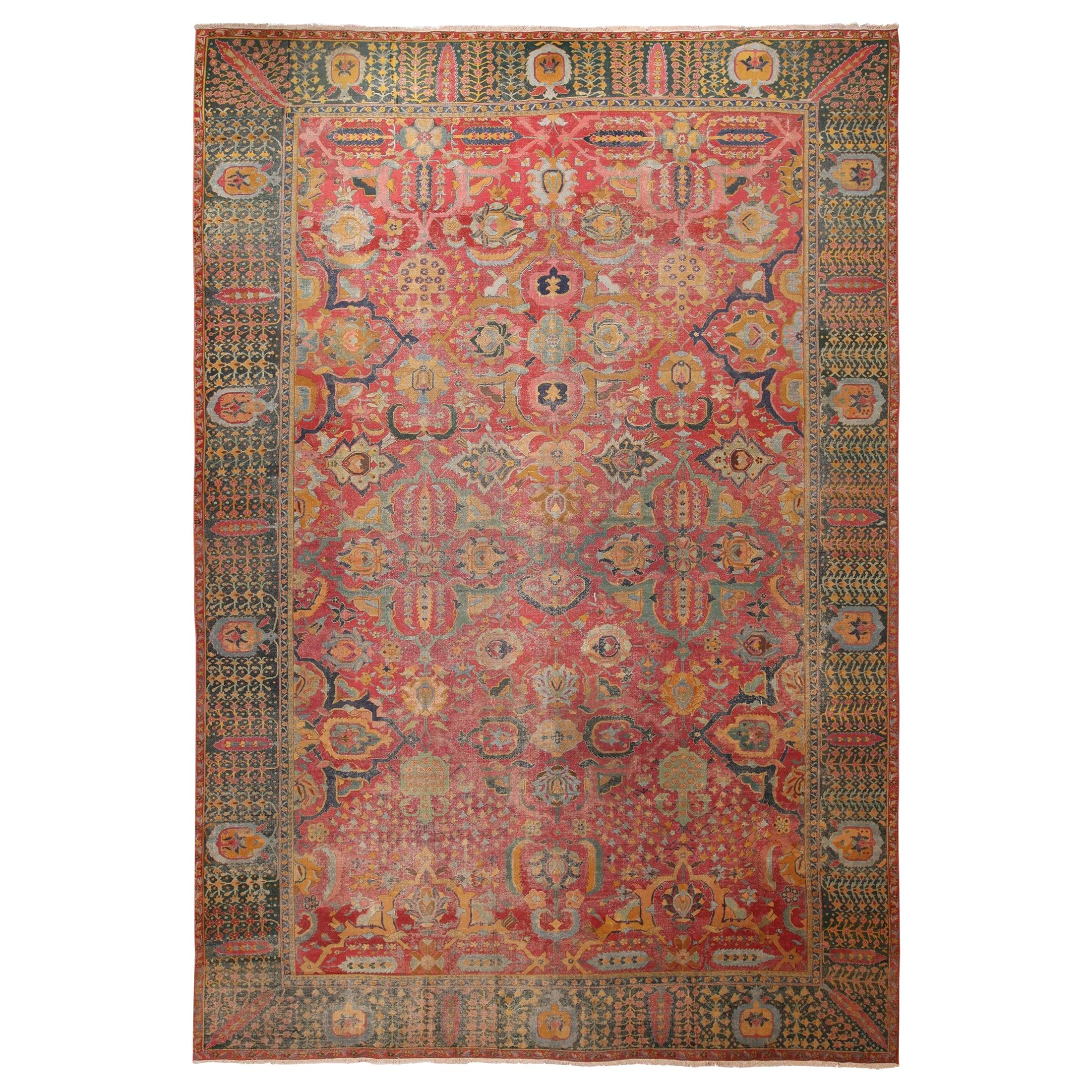 17th Century Antique Persian Isfahan Rug. Size: 11 ft 10 in x 18 ft 1 in