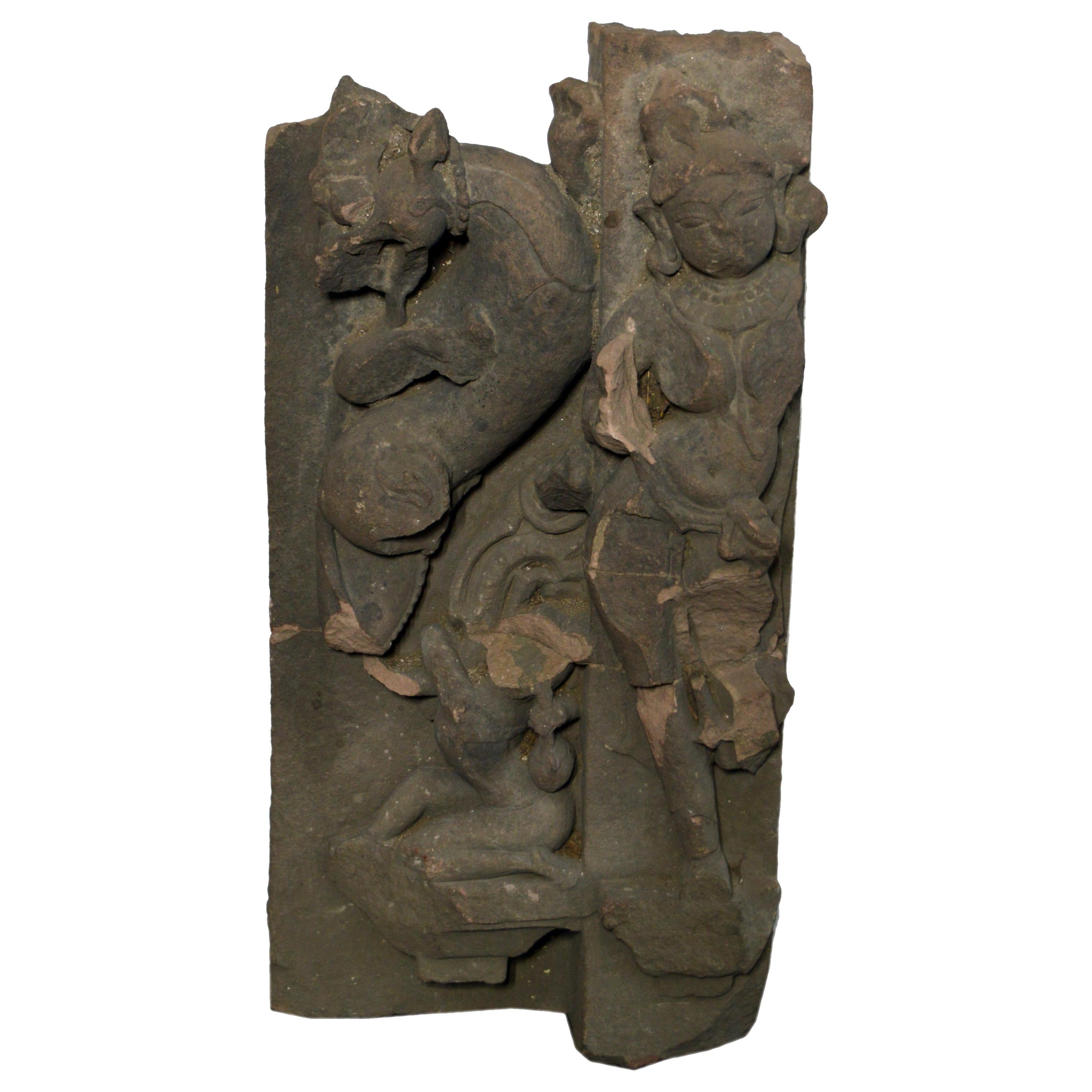 17th Century Asian Hand-Carved Stone Temple Sculpture of a Female Divinity