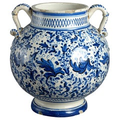 17th Century Blue and White Maiolica Vase