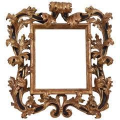 17th Century Brustolon Mirror-Frame Giltwood Carved Italian Origin, 1690