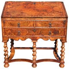 Small 17th Century Burr Walnut Marquetry Bureau on Stand