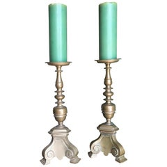 17th Century Candlesticks Candle Holder Light in Brass Antique Gift Object, Pair