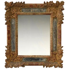 17th Century Carved Late Baroque French Frame, with Its Period Mirror Plate