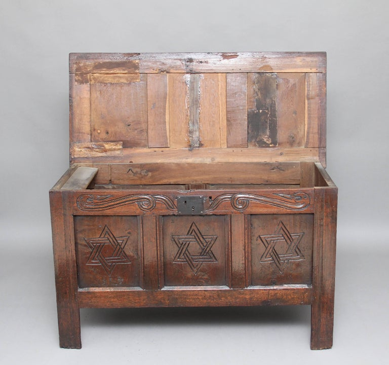 17th Century Carved Oak Coffer For Sale 5